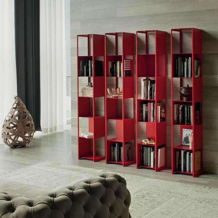 Wall red bookcase - with four separate rows