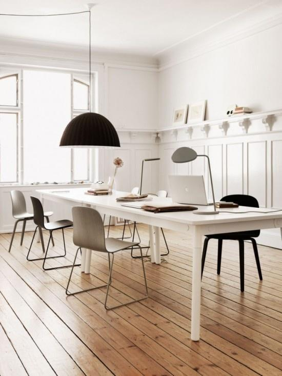 White Scandinavian dining room - with IKEA pendants and wood floor