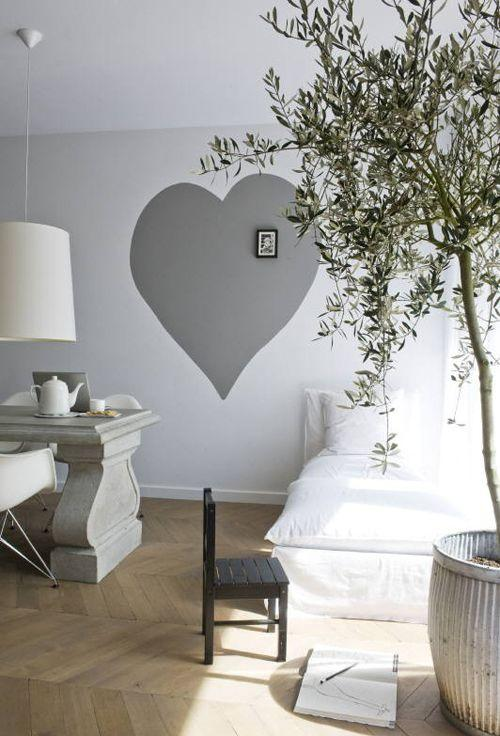 White and grey paint - with big heart on the wall