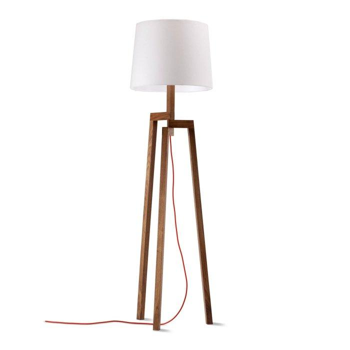 White contemporary lamp - with wood legs