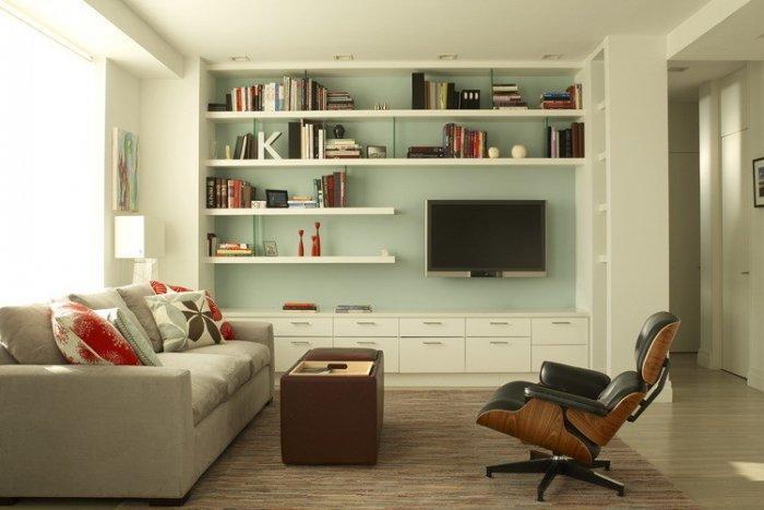 White floating shelves - inside a contemporary apartment