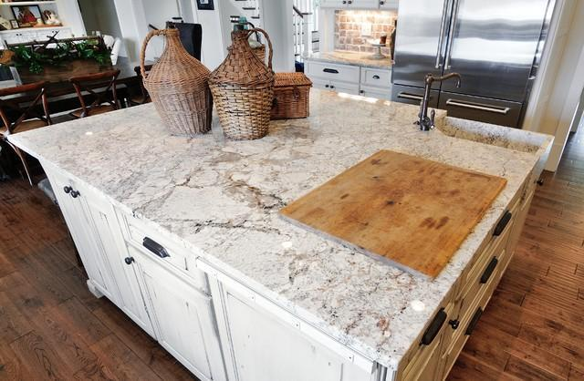 White Granite Countertop On A Traditional Kitchen Island