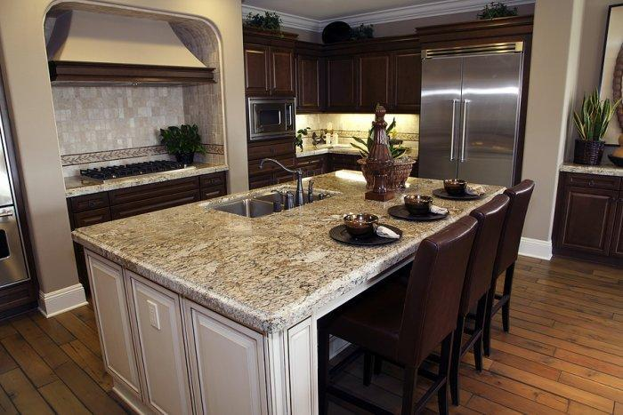 White kitchen island with granite countertop and kitchen for Kitchens with islands in the middle