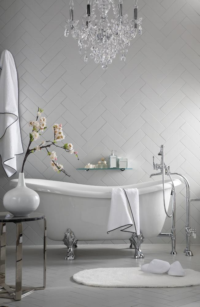 White modern classic bathroom - with stylish crystal chandelier