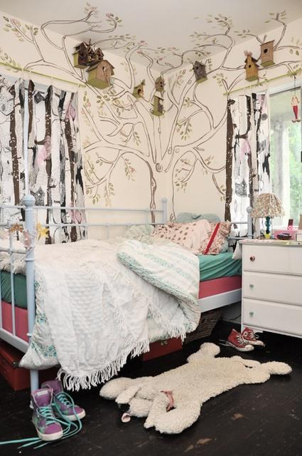 White paint with decals - in a girl bedroom