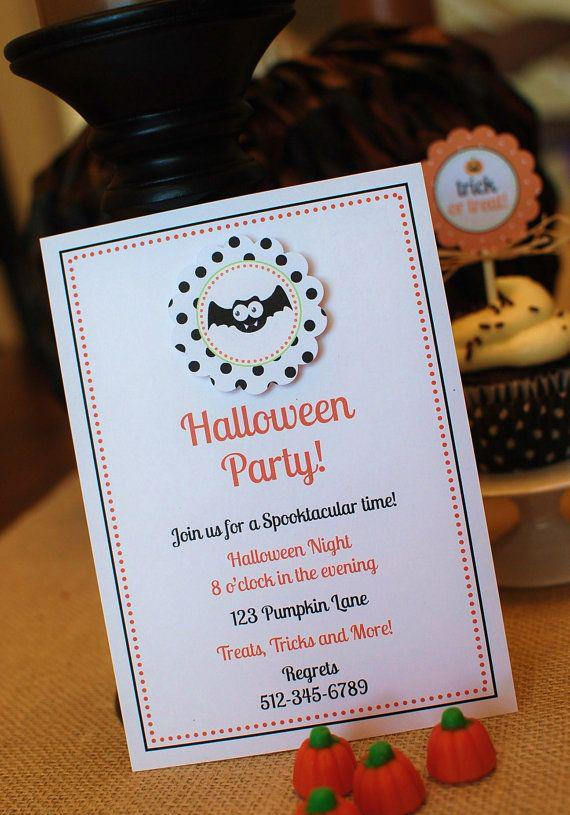 White printed Halloween invite - with simple typed text