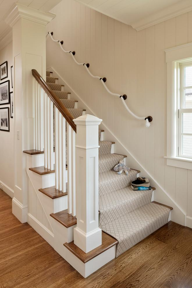 White stair runners - with stylish pattern
