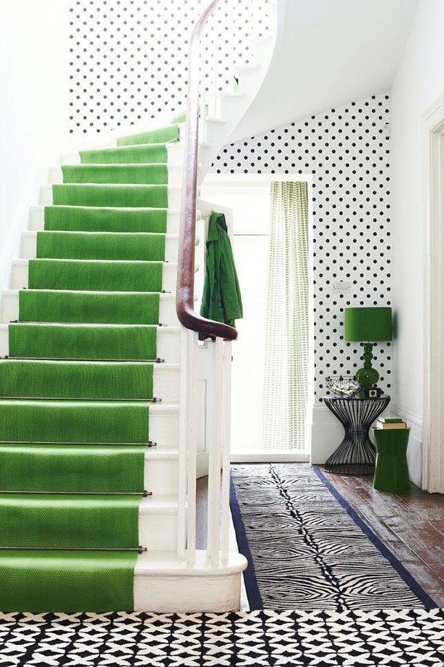 White staircase with green runners - for a contemporary look