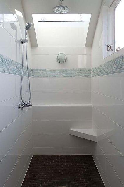 White tiles design - with pale blue stripe