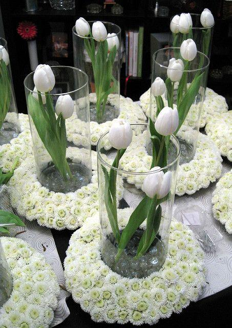 White tulip vases - for beautiful table decor
