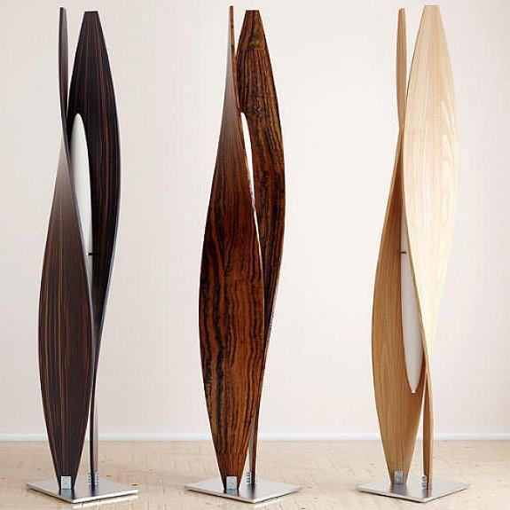 Wood floor lamp - with contemporary and elegant curves