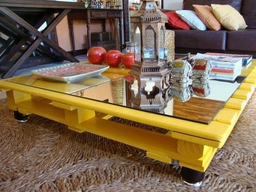 Yellow pallet table - with glass top on it