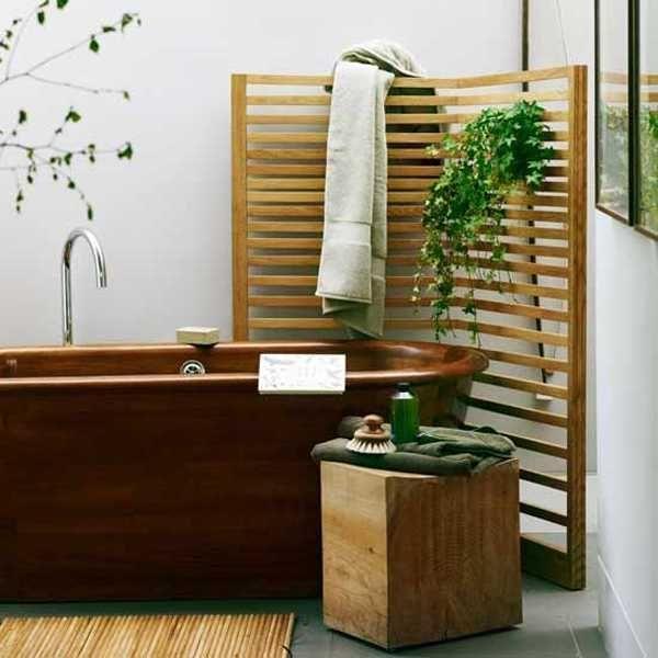 Zen bathroom design - with brown copper tub