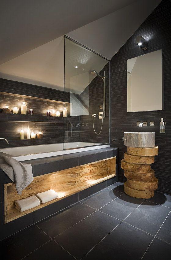Zen candles - inside a contemporary bathroom