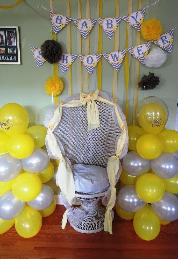 Baby Shower Chair   With Lots Of Balloons
