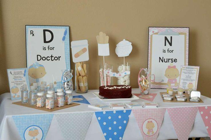 Baby shower table setting - with creative and sweet centerpieces