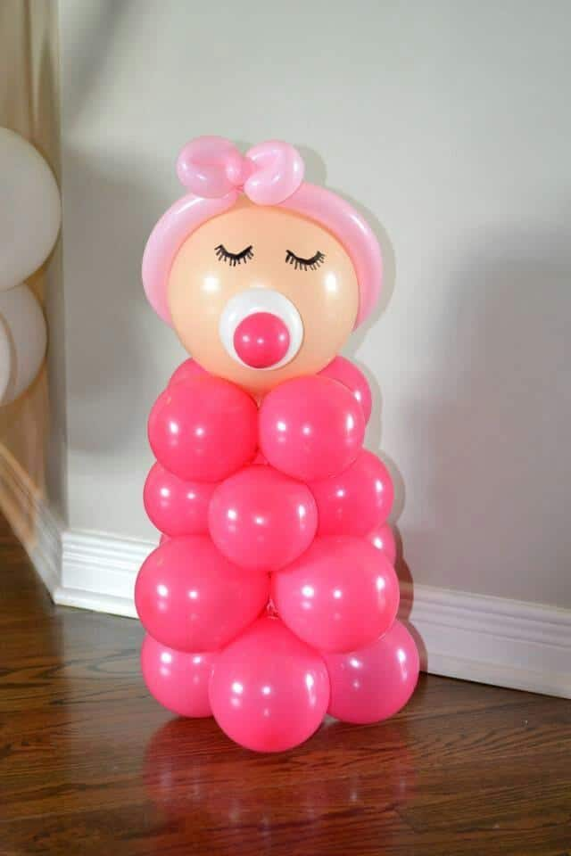 Balloon decorations for a girl baby shower founterior for Baby girl shower decoration
