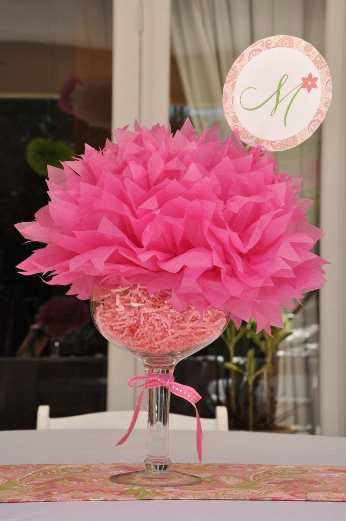 Beautiful pink bouquet - baby shower table centerpiece