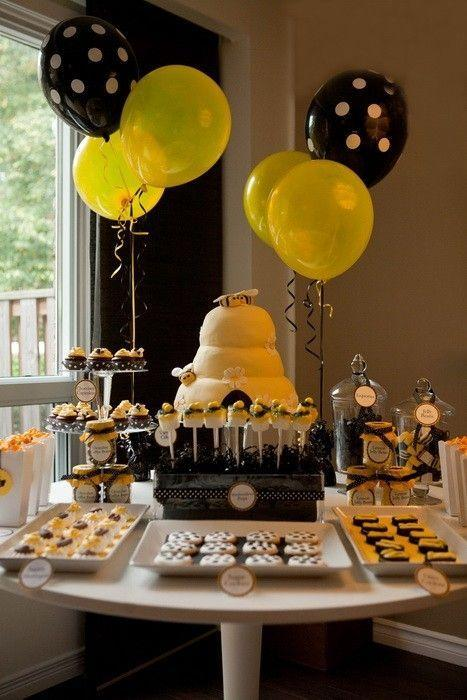 Black and yellow shower party - with balloons and cakes