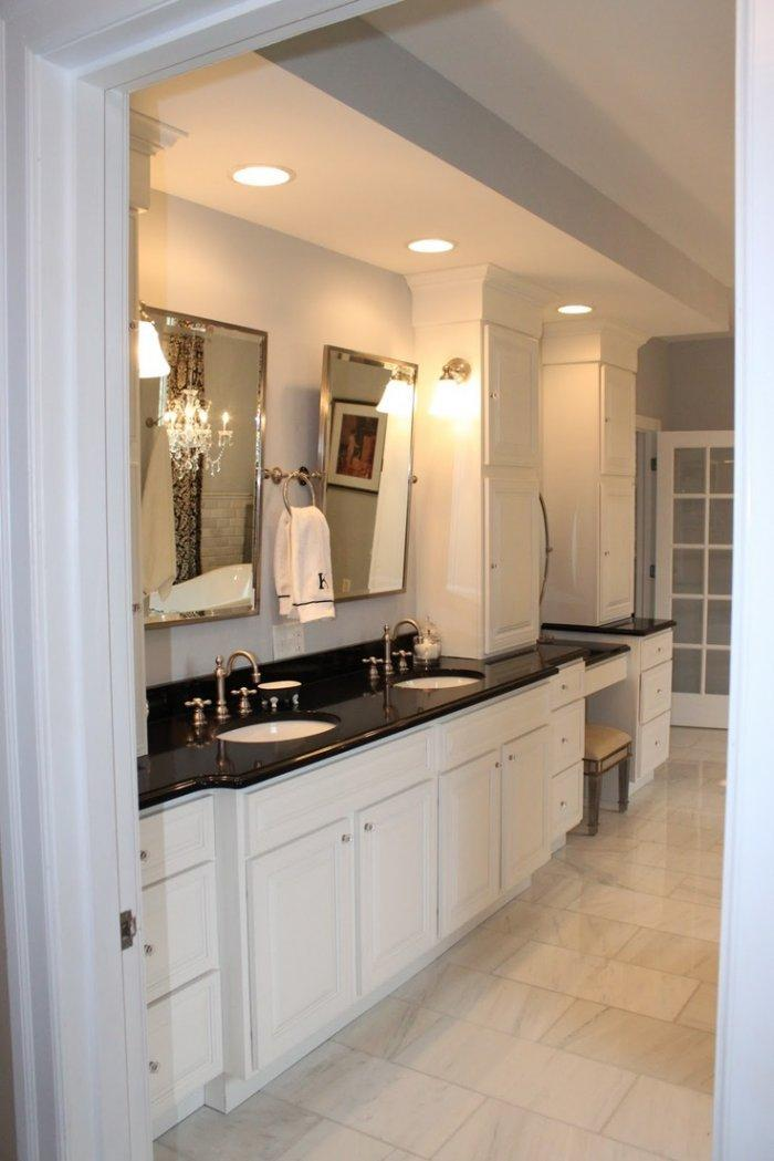 Black bathroom granite countertops - in a large private room