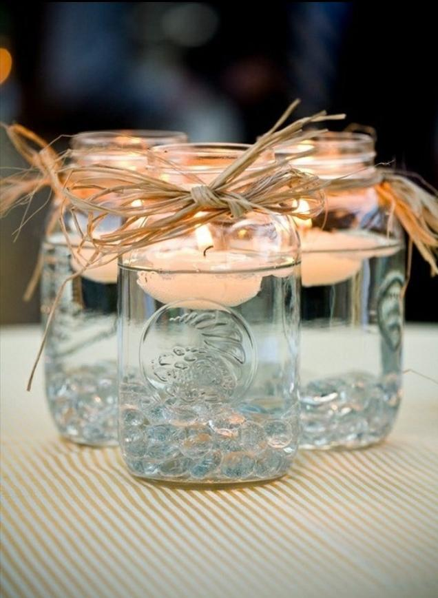Cheap handmade candleholders - for a bridal shower party