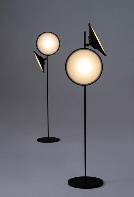 Contemporary black floor lamp - with round shade