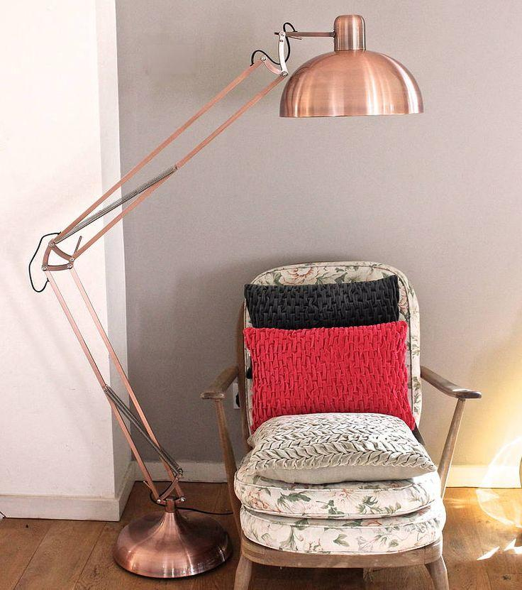 Contemporary copper floor lamp - with flexible body