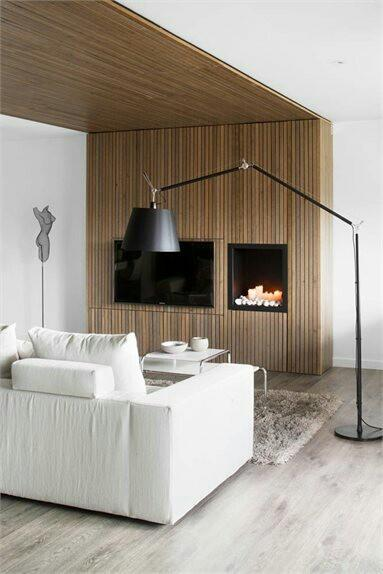 Contemporary floor lamp - inside a living room with white sofa