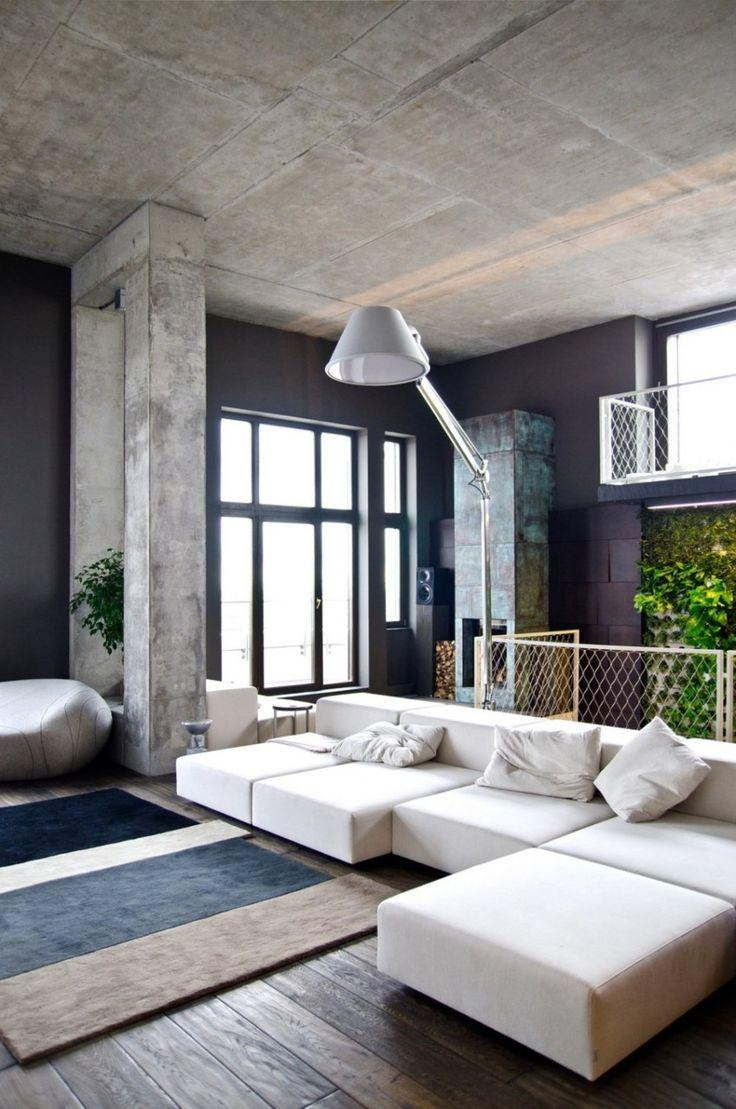 Contemporary white floor lamp - above low-in-height sofa