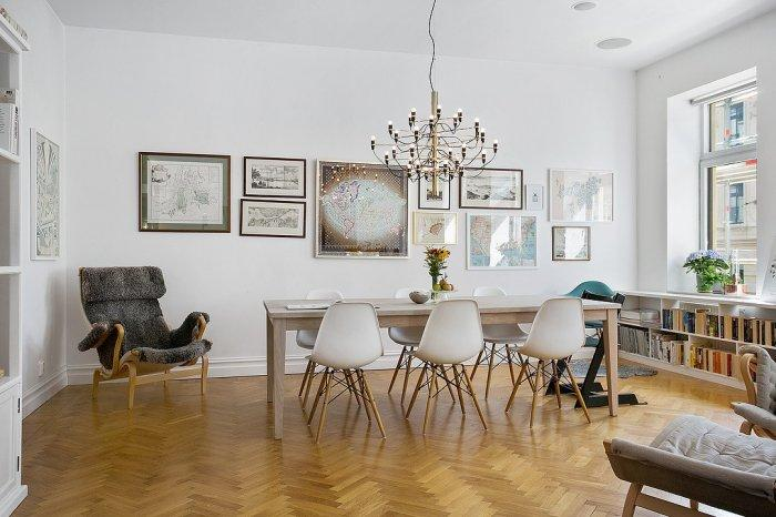 Dining room in Scandinavian style - with parquet flooring
