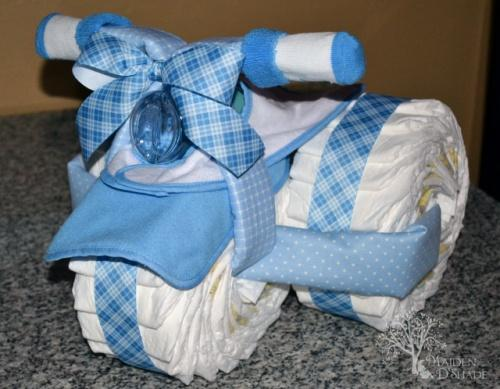 Handmnade motor bike - a baby shower present