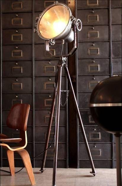 Industrial vintage floor lamp - in a stylish living room