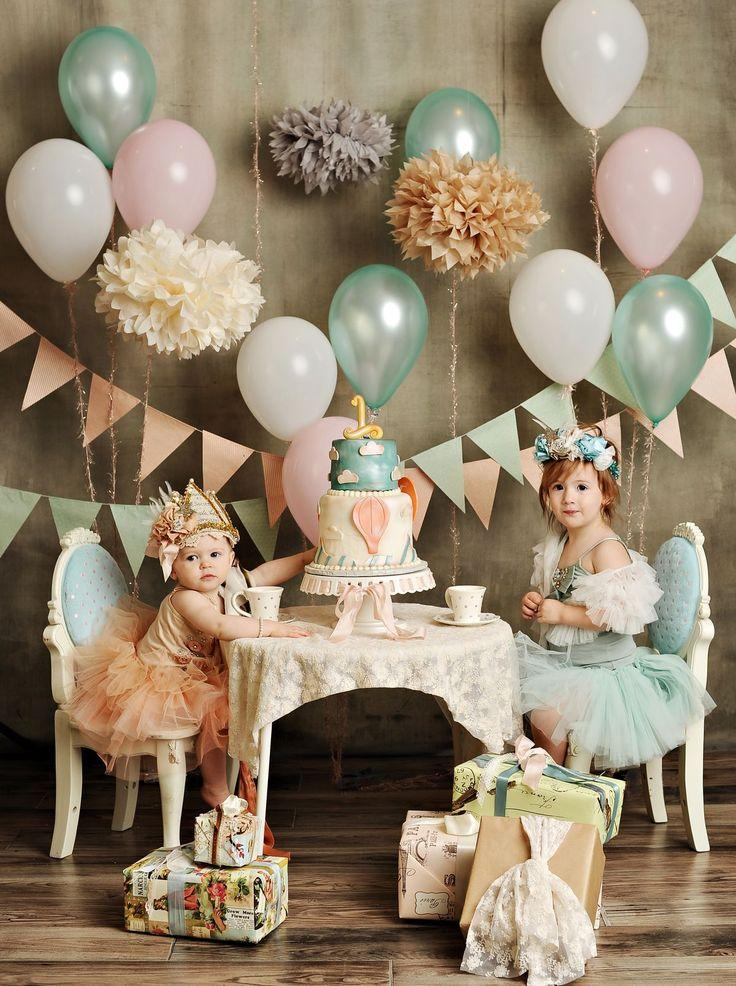 Little girls and balloons - for baby shower