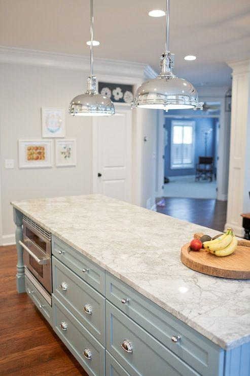 Luxurious kitchen granite countertops - on a large island in the middle