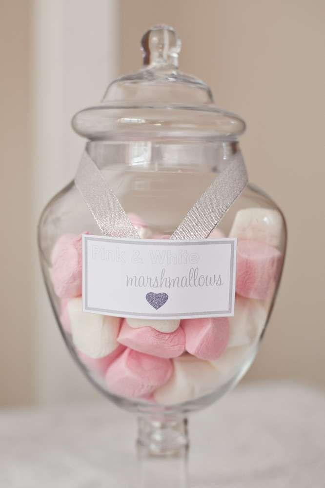 Marshmallows for baby shower - in a transparent jar