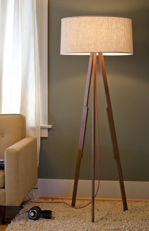 Mid-century modern floor lamp - placed on a fluffy rug