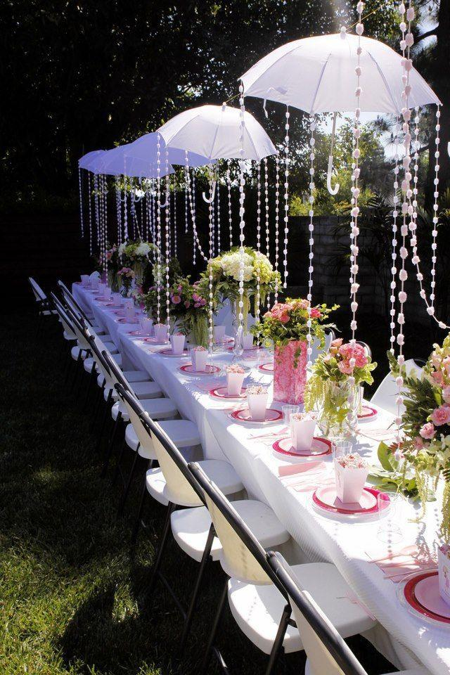 Outdoor Baby Shower   With White Umbrellas In The Garden