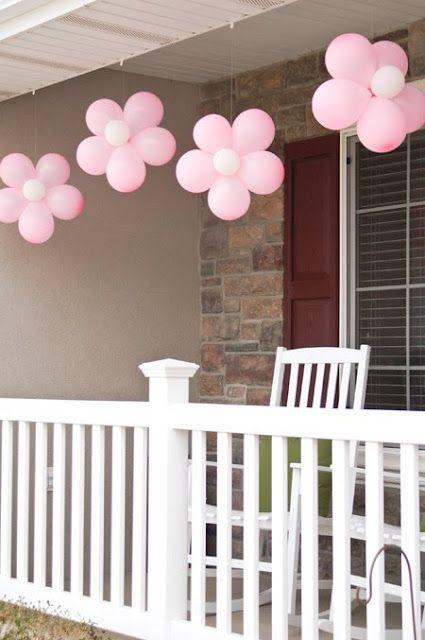 Pink petals made of balloons - for baby shower party