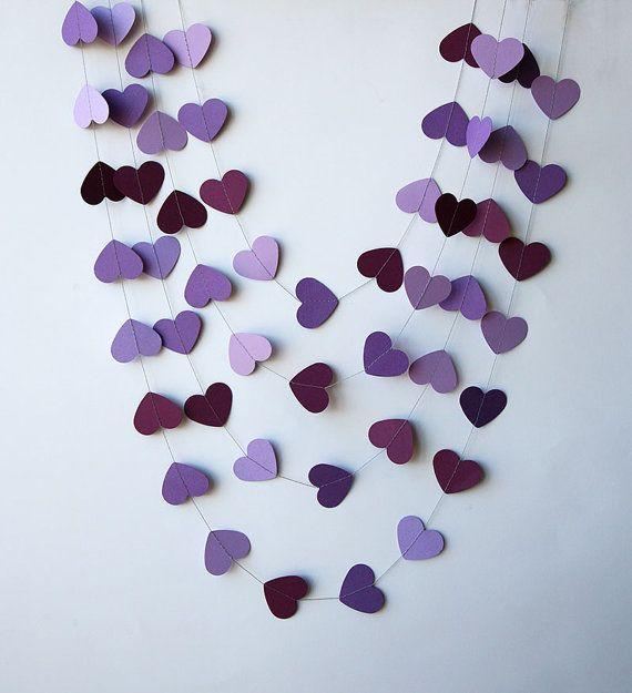 Purple paper garland - for a bridal party