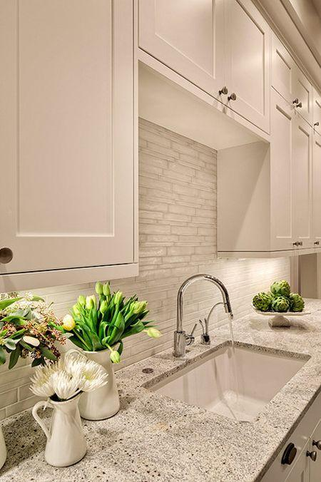 Simple kitchen granite countertops - used for the area around the sink