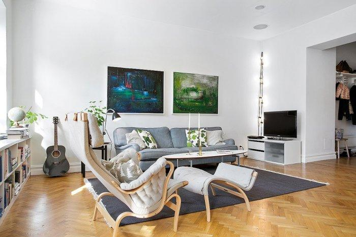 Stylish Scandinavian living room - with parquet flooring
