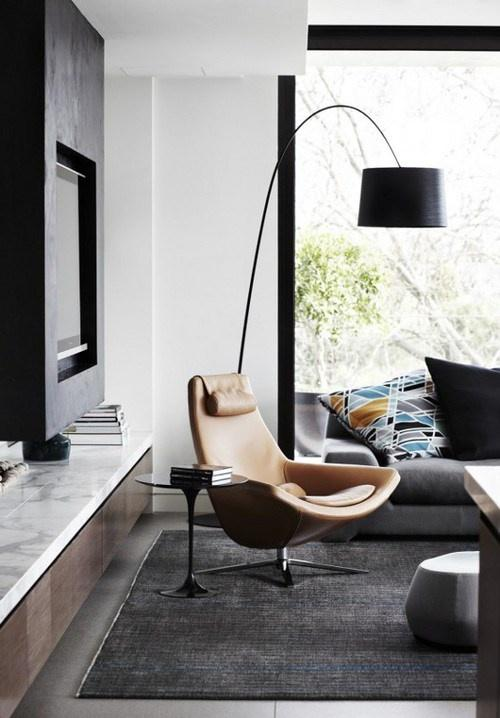 Stylish contemporary floor lamp - with arched arm