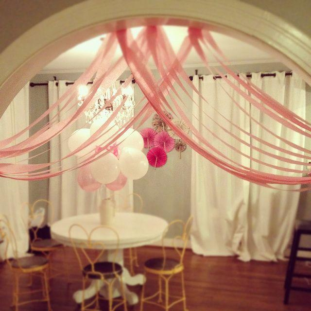 Table decorated with balloons - for a baby shower party