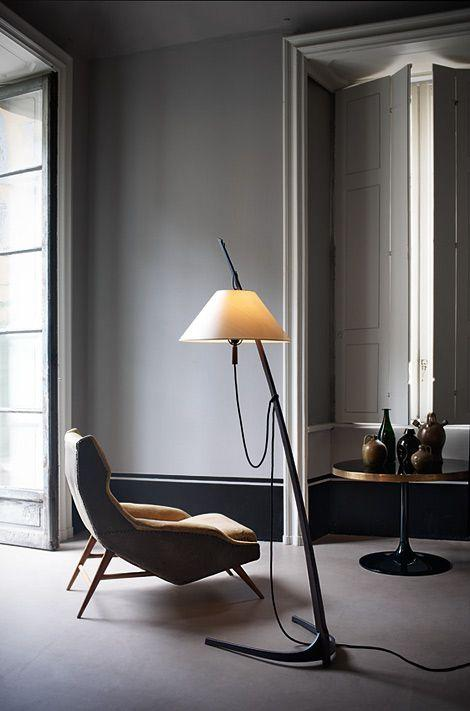 Unique modern floor lamp - with yellow shade