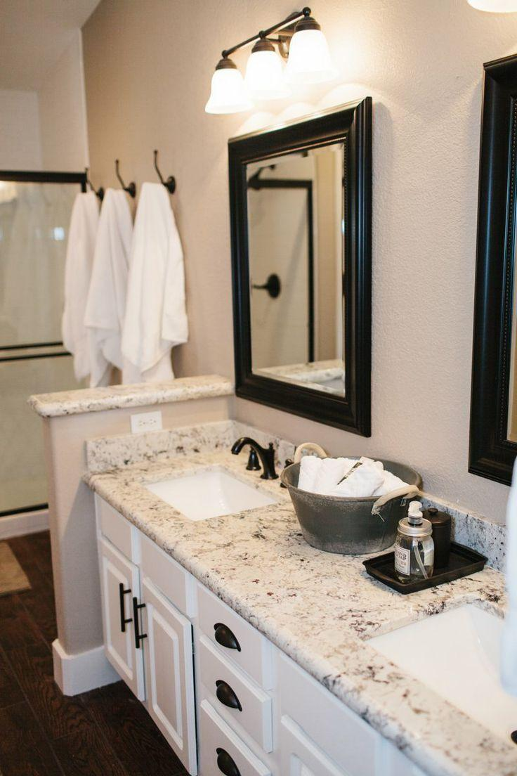 White bathroom granite countertops - used in a traditional design