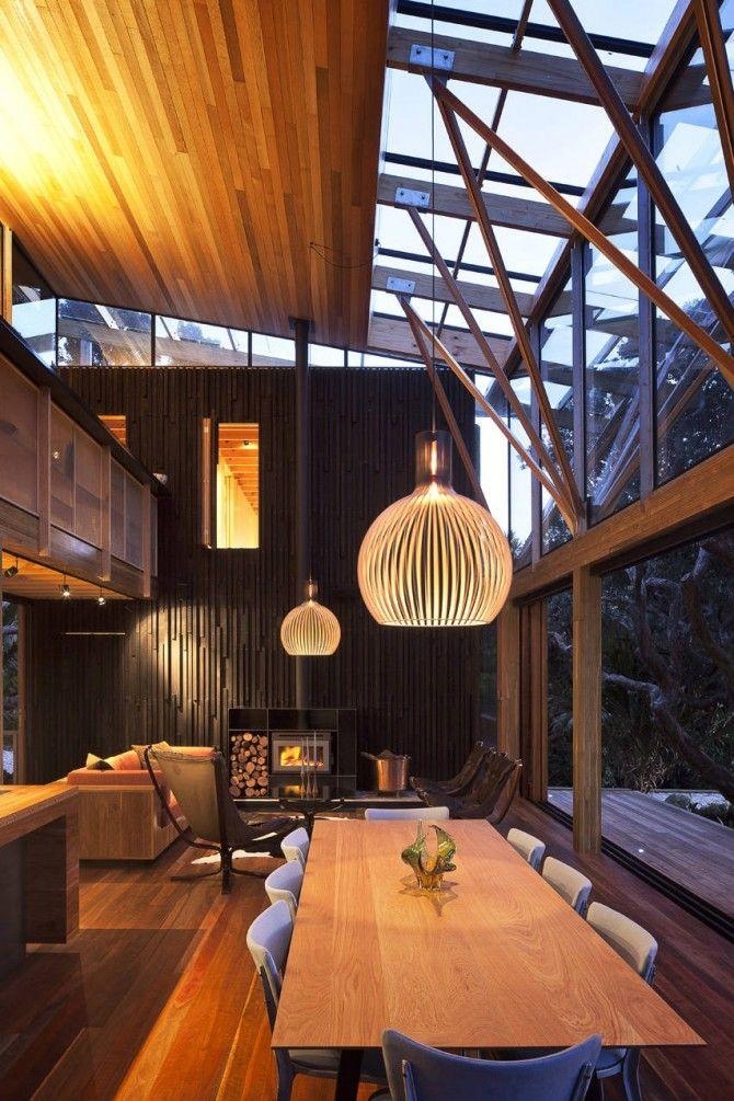 Ambient light modern pendant - inside a modern mountain lodge