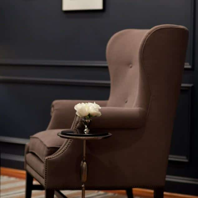 Brown living room armchair