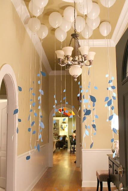 Baby shower balloons - with paper garlands