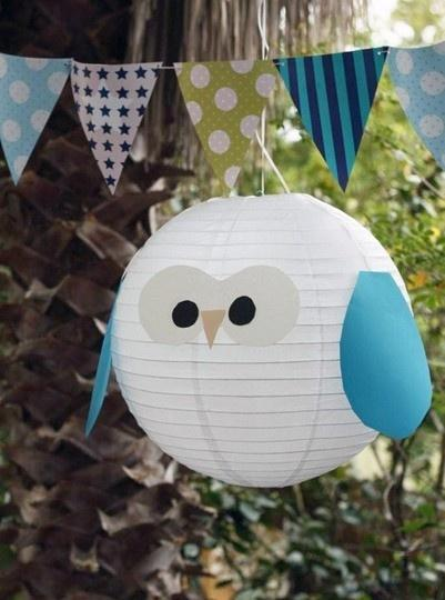 Baby shower bird - made of a paper lamp shade