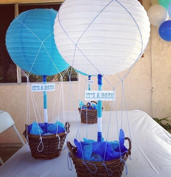 Baby shower centerpiece - blue and white balloons